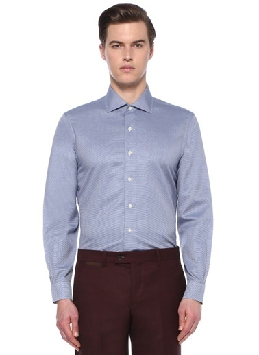 Brooks Brothers Brooks Brothers  Yarı İtalyan Yaka Mikro Desenli Gömlek 101472952 Mavi